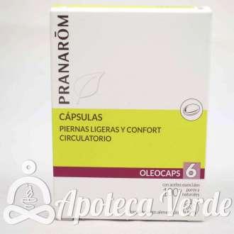 Cápsulas Oleocaps 6 Piernas ligeras y confort circulatorio de Pranarom 30 cápsulas