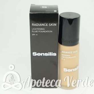 Maquillaje iluminador SPF15 fluido Radiance Skin 02 Amande de Sensilis 30ml