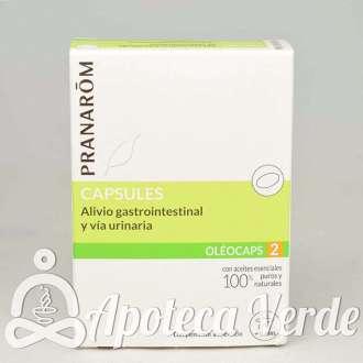 Oleocápsulas 2 Alivio gastrointestinal y vía urinaria de Pranarom 30 cápsulas
