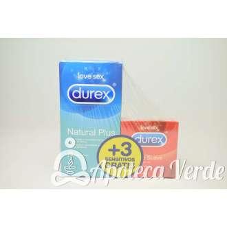 Pack Preservativos Natural Plus 12 unidades + Preservativos Sensitivo Suave 3 unidades de Durex